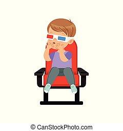 jongen, weinig; niet zo(veel), schouwend, zoet, zittende , illustratie, vector, bioscoop, film, stoel, 3d, rood, bril
