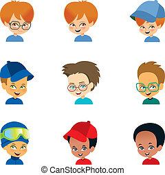 jongen, weinig; niet zo(veel), set, gezichten