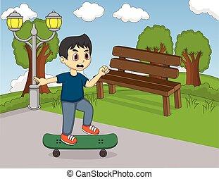 jongen, weinig; niet zo(veel), skateboard, spelend