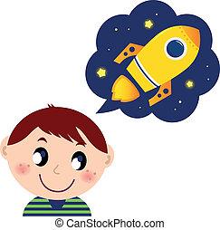 jongen, weinig; niet zo(veel), speelgoed raket, over, dromen