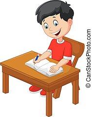 jongen, weinig; niet zo(veel), spotprent, schrijvende
