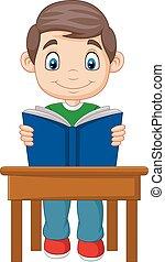 jongen, weinig; niet zo(veel), spotprent, studerend