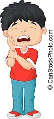 jongen, weinig; niet zo(veel), spotprent, tandpijn