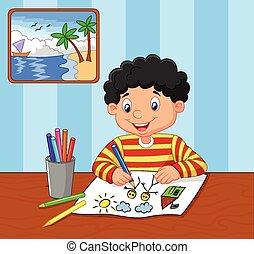 jongen, weinig; niet zo(veel), spotprent, tekening