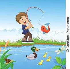 jongen, weinig; niet zo(veel), spotprent, visserij
