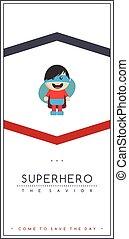jongen, weinig; niet zo(veel), superhero, vector, redder, spotprent, geitje