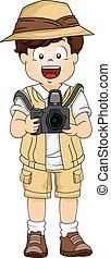 jongen, weinig; niet zo(veel), tandwiel, illustratie, fototoestel, safari, gebruik, dslr