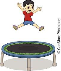 jongen, weinig; niet zo(veel), trampoline, spelend