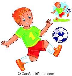 jongen, weinig; niet zo(veel), vector, spelend, soccer.