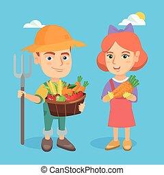 jongen, weinig; niet zo(veel), vegetables., fruit, vasthouden, meisje