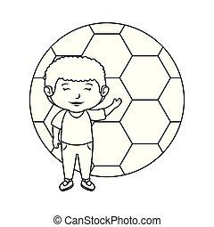 jongen, weinig; niet zo(veel), voetbal, balloon