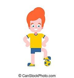 jongen, weinig; niet zo(veel), voetbal, player., illustratie, vector, voetballer