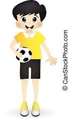 jongen, weinig; niet zo(veel), voetbal, spelend