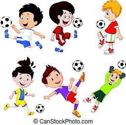 jongen, weinig; niet zo(veel), voetbal, spotprent, spelend