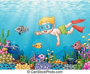 jongen, weinig; niet zo(veel), zee, duiken