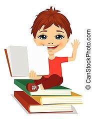 jongen, weinig; niet zo(veel), zittende , het tonen, boek, boekjes , open, stapel