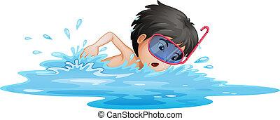 jongen, weinig; niet zo(veel), zwemmen