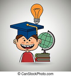 jongen, wereld, boek, student, kaart
