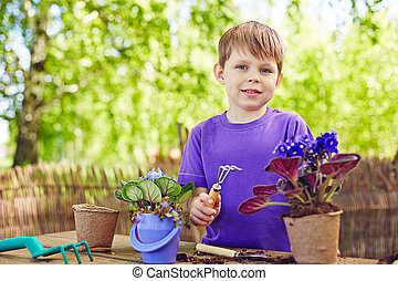 jongen, werktuig, tuin