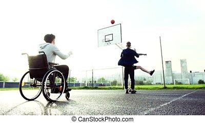 jongen, wheelchair, buiten, tiener, vrienden, spelend,...
