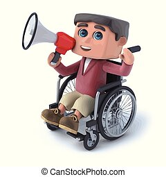 jongen, wheelchair, door, megafoon, het spreken, 3d