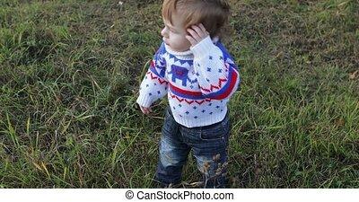 jongen, wildflowers, zuigeling, spelend