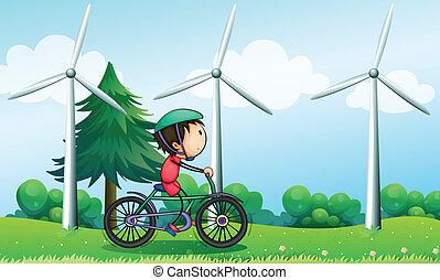 jongen, windmolen, zijn, fiets helpend