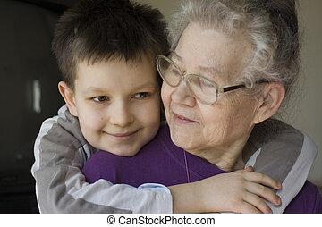 jongen, witrh, oma