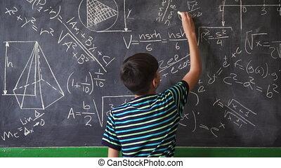 jongen, zeker, fototoestel, gedurende, het glimlachen, latino, les, wiskunde