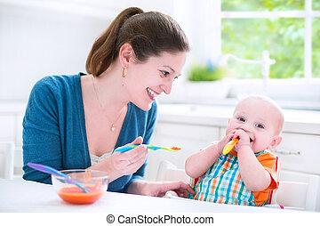 jongen, zijn, eten, ste?e? t??f?µa, baby, eerst