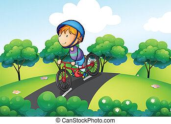 jongen, zijn, fiets helpend