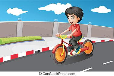 jongen, zijn, fiets, sinaasappel, paardrijden, wielen