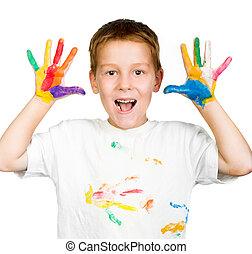 jongen, zijn, geverfde, verf , handen, optredens