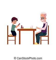 jongen, zijn, grootvader, schaakspel, kleinzoon, spelend