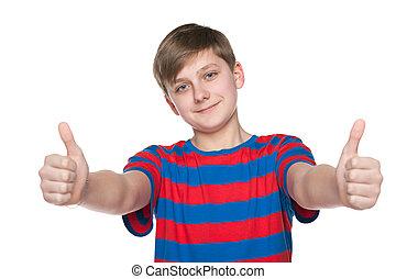 jongen, zijn, houden, op, tiener, duimen