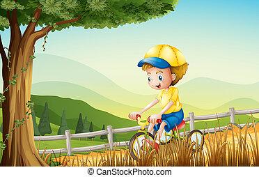 jongen, zijn, jonge, fiets, spelend