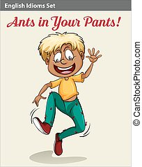 jongen, zijn, mieren, broek