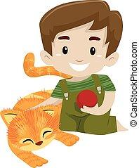 jongen, zijn, spelende bal, kat