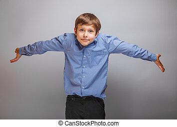 jongen, zijn, tien, uiterlijk, jaren, propageren, tiener, handen, europeaan