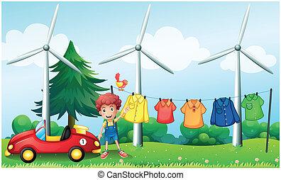 jongen, zijn, tuin, auto, hangende kleren