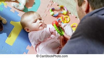 jongen, zijn, vader, 4k, baby, spelend