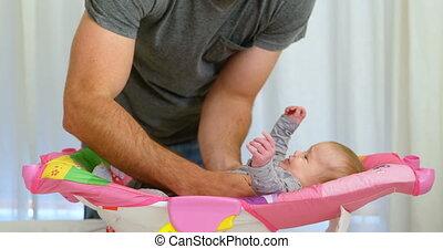 jongen, zijn, vader, bed, het putten, 4k, baby