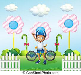 jongen, zijn, vrolijke , fiets, candyland