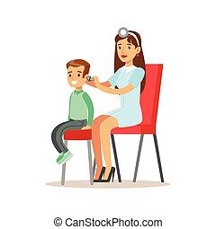 jongen, zijn, vrouwtje arts, controleren, medisch onderzoek,...