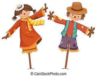 jongen, zoals, scarecrows, twee, menselijk, meisje, blik