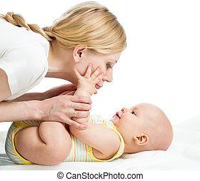 jongen, zuigeling, haar, plezier, moeder, baby, hebben, ...