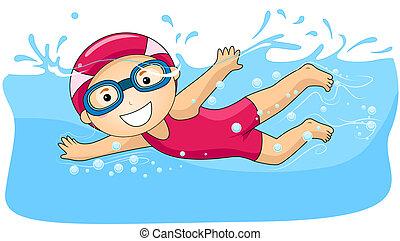 jongen, zwemmen