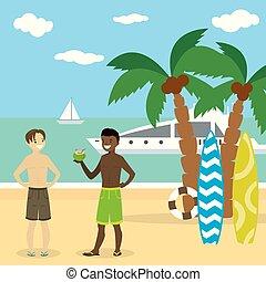 jongens, amerikaan, badkleding, kaukasisch, afrikaan, strand, spotprent, tiener