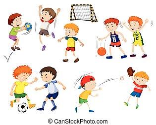 jongens, anders, spelend, sporten
