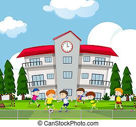 jongens, buiten, voetbal, spelend